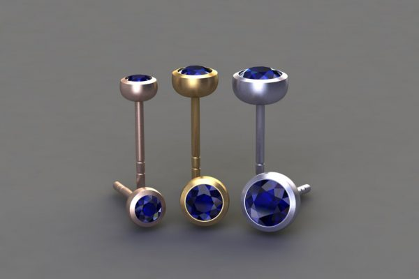 Sapphire, Red, Yellow & White Gold Ear Stud Designs by Robert Feather Jewellery