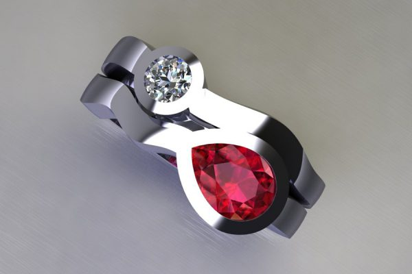 Pear Cut Ruby & Round Brilliant Cut Diamond Platinum Ring Design by Robert Feather Jewelllery