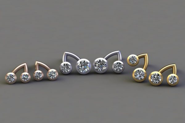 Diamond, Red, White & Yellow Gold Branch Ear Stud Designs by Robert Feather Jewellery
