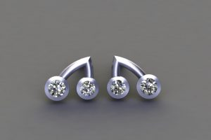 Diamond Platinum Branch Ear Stud Design by Robert Feather Jewellery