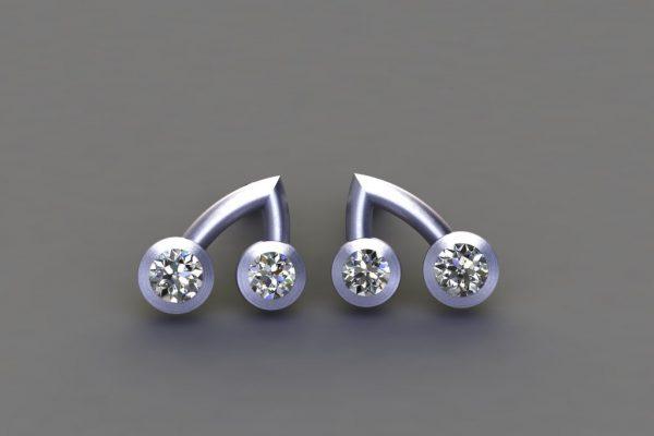 Diamond Platinum Branch Ear Stud Design by Robert Feather Jewellery