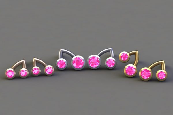 Pink Sapphire, Red, White & Yellow Gold Branch Ear Stud Design by Robert Feather Jewellersy