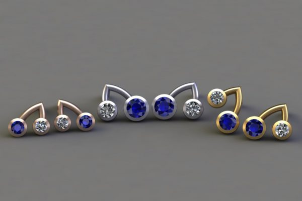 Sapphire & Diamond, Red, White & Yellow Gold Branch Ear Stud Designs by Robert Feather Jewellery