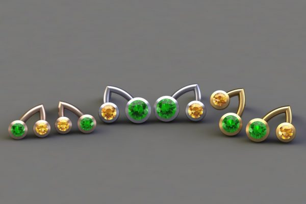 Tsavorite & Yellow Sapphire, Red, White & Yellow Gold Branch Ear Stud Designs by Robert Feather Jewellery