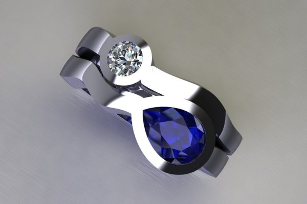 Pear Cut Sapphire & Round Brilliant Cut Diamond Platinum Ring Design by Robert Feather Jewellery