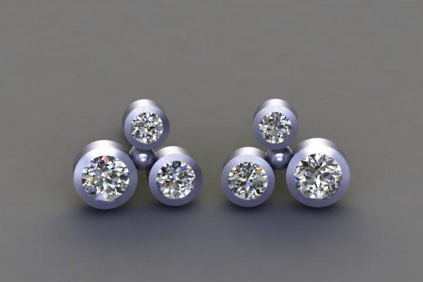 Diamond Platinum Bubble Design Ear Studs by Robert Feather Jewellery