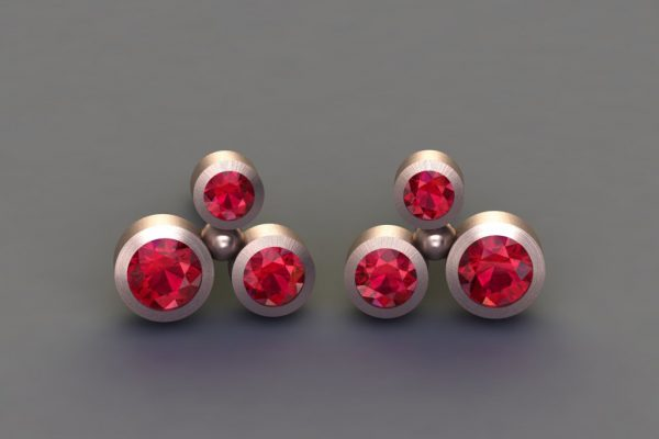 Ruby Red Gold Bubble Design Ear Studs by Robert Feather Jewellery