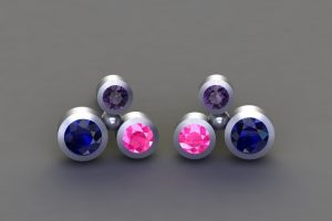 Coloured Sapphire 18ct White Gold Bubble Design Ear Studs by Robert Feather Jewellery