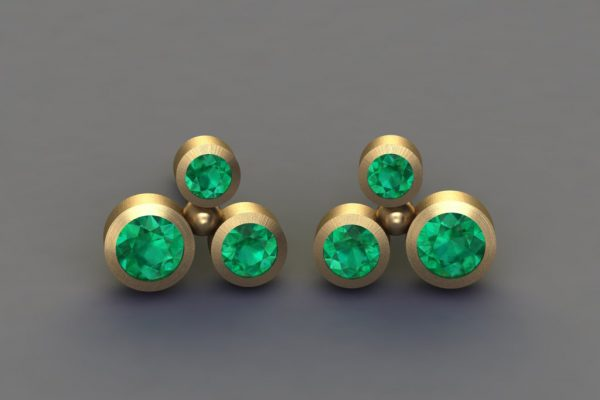 Emerald Yellow Gold Bubble Design Ear Studs by Robert Feather Jewellery