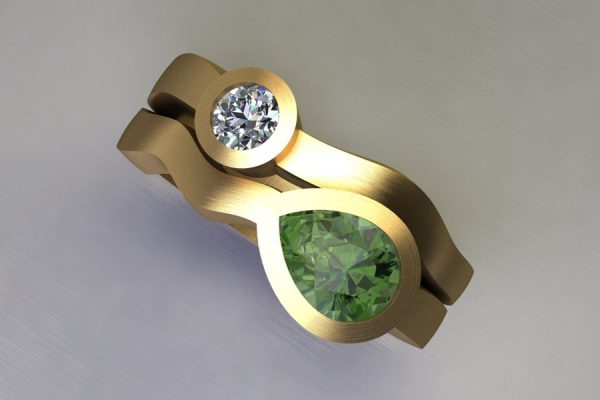 Pear Cut Green Tourmaline & Round Brilliant Cut Diamond 18ct Yellow Gold Ring Design by Robert Feather Jewellery