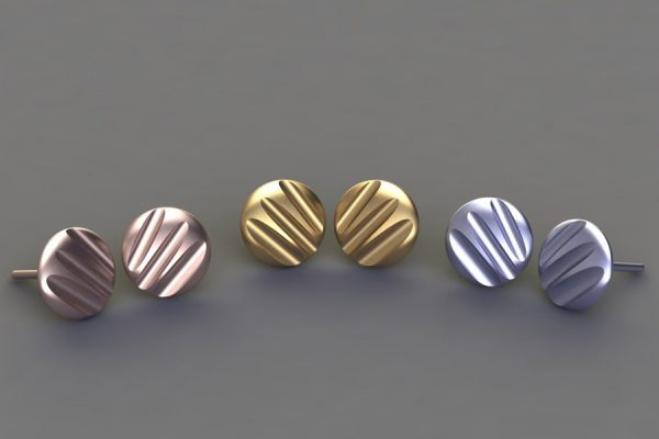 Round Fluted Design Platinum & 18ct Gold Ear Studs by Robert Feather Jewellery
