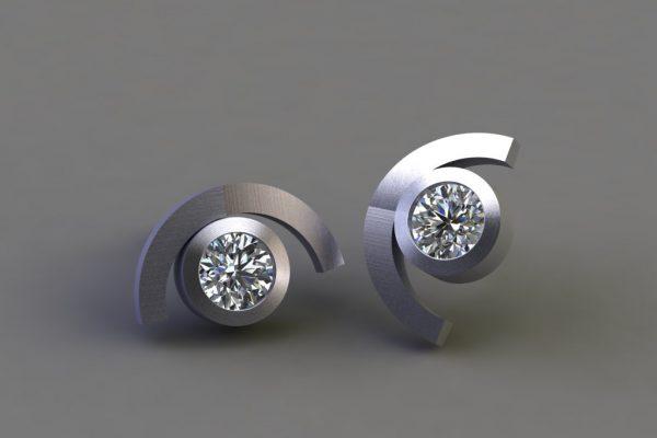 Diamond Platinum Cup Design Ear Studs by Robert Feather Jewellery