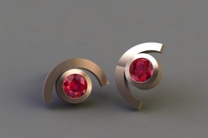 Ruby 18ct Red Gold Cup Design Ear Studs by Robert Feather Jewellery
