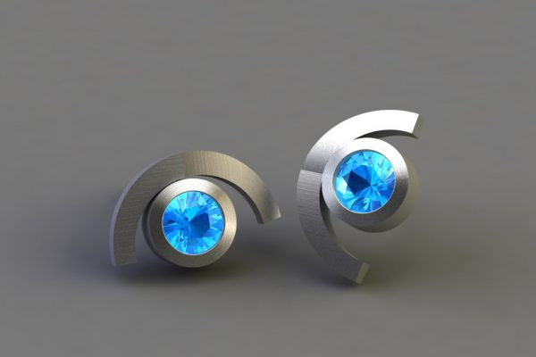 Blue Topaz Silver Cup Design Ear Studs by Robert Feather Jewellery