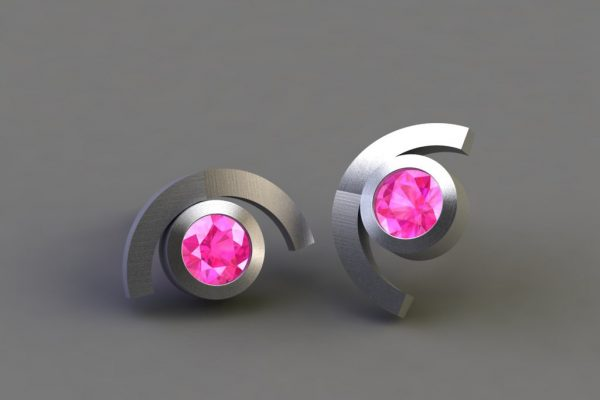 Pink Sapphire White Gold Cup Design Ear Studs by Robert Feather Jewellery