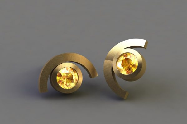 Yellow Sapphire & Gold Cup Design Ear Studs by Robert Feather Jewellery