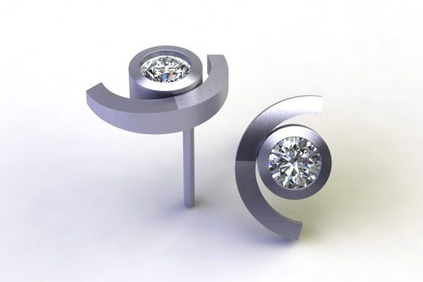 Cup Design Diamond Platinum Ear Studs by Robert Feather Jewellery