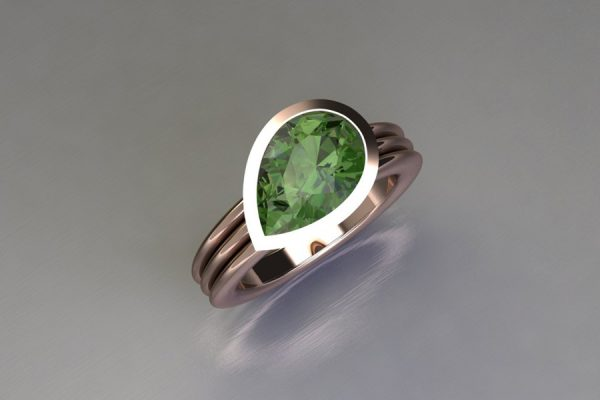 Pear Cut Green Tourmaline 18ct Red Gold Ring Design by Robert Feather Jewellery