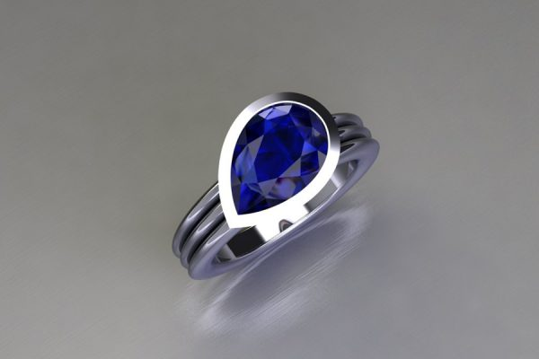 Pear Cut Sapphire Platinum Ring Design by Robert Feather Jewellery