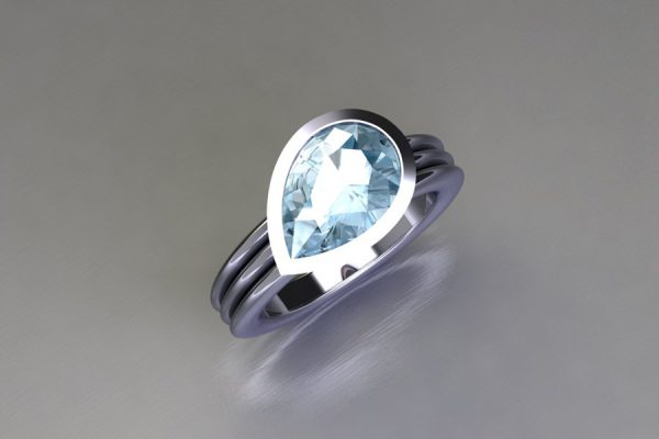 Pear Cut Aquamarine Platinum Ring Design by Robert Feather Jewellery