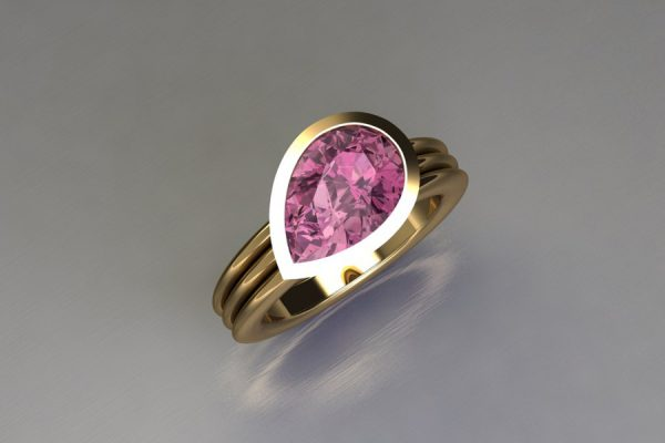 Pear Cut Pink Tourmaline 18ct Yellow Gold Ring Design by Robert Feather Jewellery