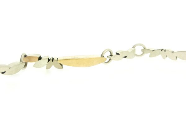 Marquise Design Silver & 18ct Gold Linked Bracelet by Robert Feather Jewellery