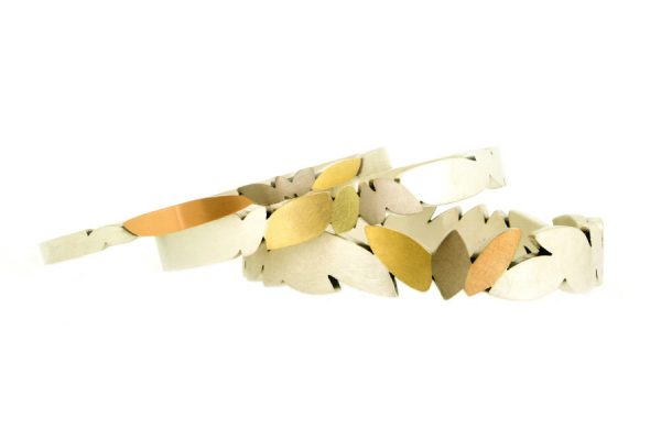 Marquise Design Silver & 18ct Gold Bangles by Robert Feather Jewellery