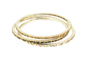 Striped Silver & 18ct Gold Bangles : Robert Feather Jewellery