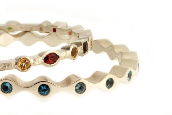 Stone Set Silver Bangles by Robert Feather Jewellery