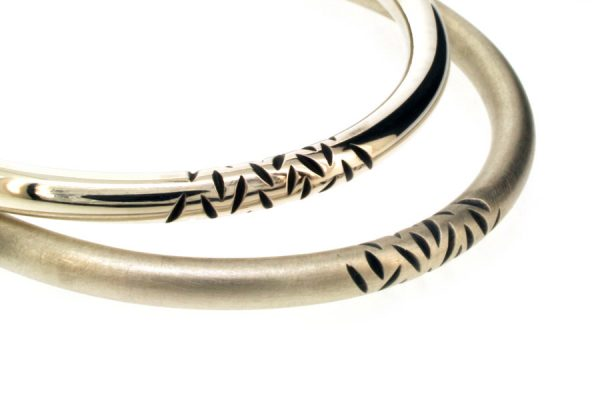 Notch Pattern Design Round Section Silver Bangles by Robert Feather Jewellery