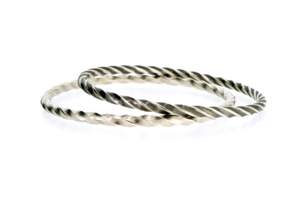 Twisted Design Silver Bangles by Robert Feather Jewellery