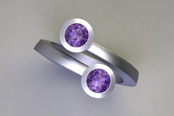 Two Stone Purple Sapphire Platinum Ring Design by Robert Feather Jewellery
