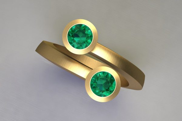 Two Stone Emerald 18ct Yellow Gold Ring Design by Robert Feather Jewellery