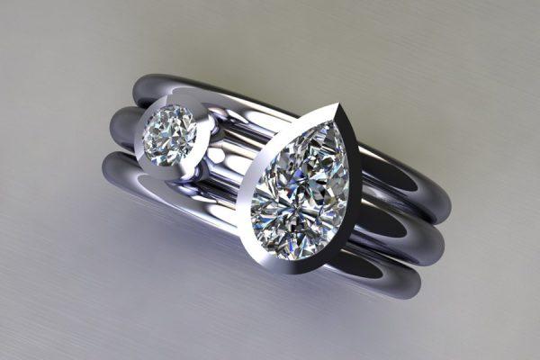 Pear Cut Diamond & Round Brilliant Cut Diamond Platinum Ring Design by Robert Feather Jewellery