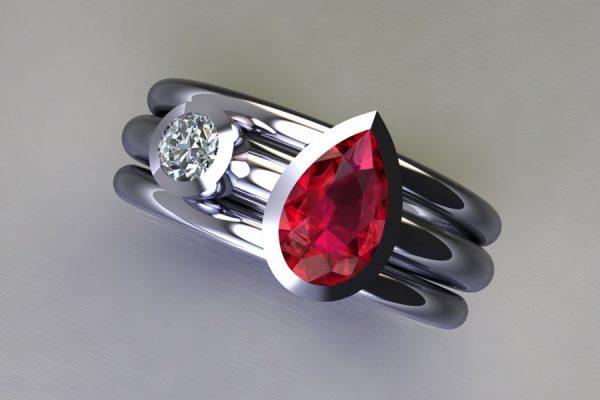 Pear Cut Ruby & Round Brilliant Cut Diamond Platinum Ring Design by Robert Feather Jewellery