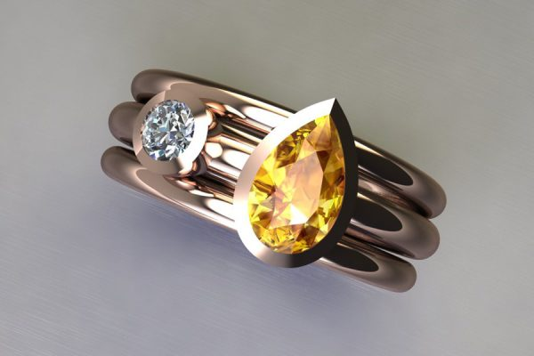 Pear Cut Yellow Sapphire & Round Brilliant Cut Diamond 18ct Red Gold Ring Design by Robert Feather Jewellery