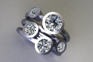 Five Stone Round Brilliant Cut Diamond Platinum Ring Design by Robert Feather Jewellery