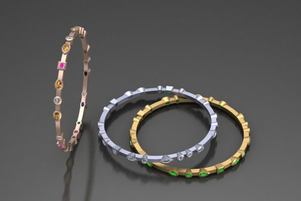 Mixed Stone Bangle Design in 18ct Golds & Platinum with Sapphires, Diamonds & Tsavorites by Robert Feather Jewellery