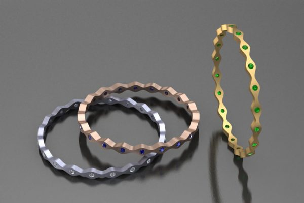 Wave Bangle Design in Platinum & 18ct Golds with Diamonds, Sapphires & Tsavorites by Robert Feather Jewellery