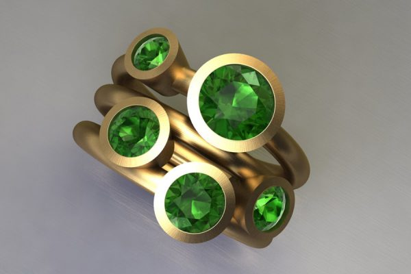 Five Stone Green Tourmaline 18ct Yellow Gold Ring Design by Robert Feather Jewellery