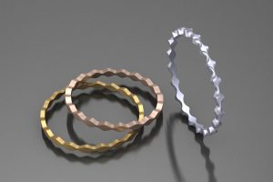 Wave Bangle Design in 18ct Red & Yellow Gold & Platinum by Robert Feather Jewellery