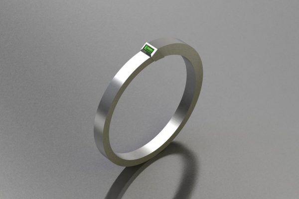 Silver Bangle Design with Baguette Green Tourmaline by Robert Feather Jewellery