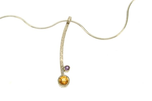 Curved Bar Design Silver Citrine & Amethyst Necklace by Robert Feather Jewellery