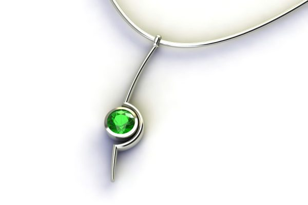 Cup Design Tsavorite 18ct Gold Necklace by Robert Feather Jewellery