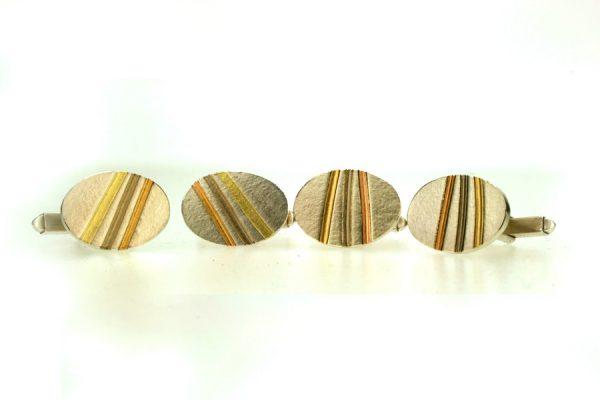 Silver & Palladium Striped Cufflinks by Robert Feather Jewellery