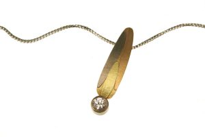 Leaf Design White Sapphire 18ct Coloured Gold Necklace : Robert Feather Jewellery
