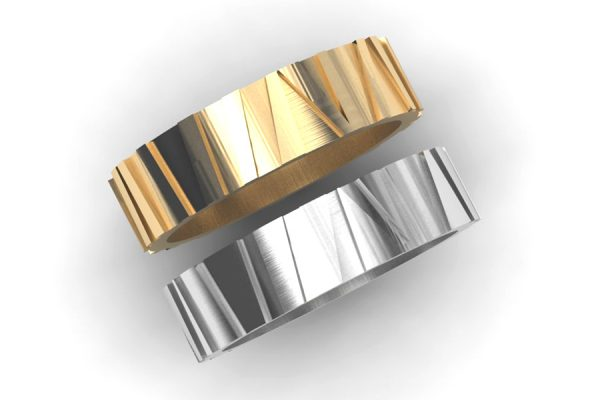 Platinum & 18ct Gold Striped Wedding Ring Designs by Robert Feather Jewellery