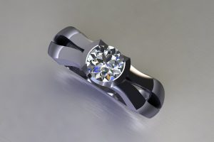 Round Brilliant Cut Diamond Platinum Ring Design by Robert Feather Jewellery