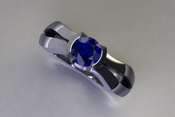 Round Sapphire Platinum Ring Design by Robert Feather Jewellery