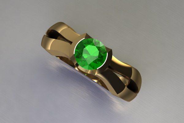 Round Tsavorite 18ct Yellow Gold Ring Design by Robert Feather Jewellery